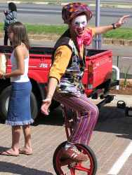 Kenbo the clown on his unicycle